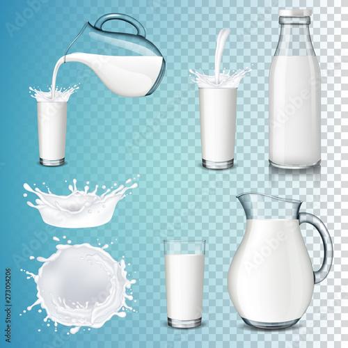 Valokuvatapetti Set of milk product, isolated on transparent background
