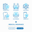 Medical insurance thin line icons set: policy, life insurance, dental program, family medicine, telemedicine. Modern vector illustration.