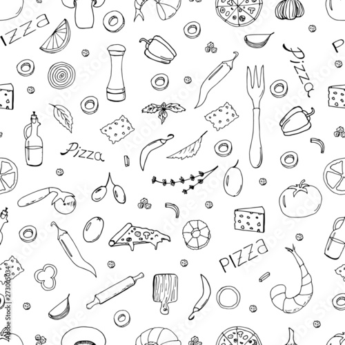 hand-drawn-vector-doodle-pizza-seamless-pattern-useful-for-packaging-menu-design-and-interior-decorating-hand-drawn-lettering-illustration-isolated-on-white-background