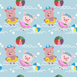 cute pigs swim in the pool background. Vector illustration for kid,fabric textile