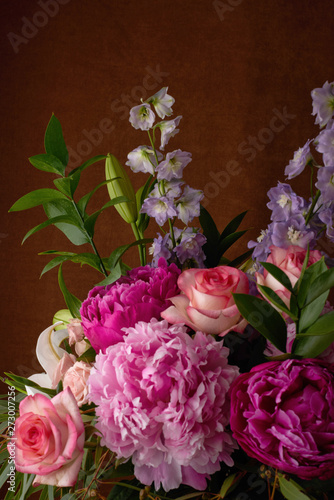 a beautiful bouquet of flowers lilies peonies roses card Wallpaper
