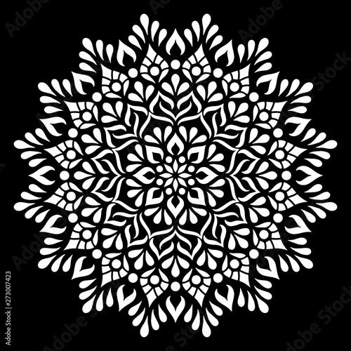 Mandala pattern white doodles sketch Canvas Print