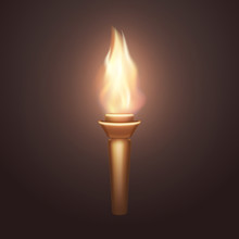Torch Flame Isolated On Dark Background. 3d Medieval Fire Light Icon. Vector Wooden Burning Element Design.