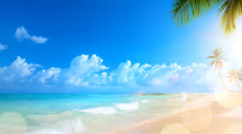 Art Summer Vacation; Tropical Beach Background;