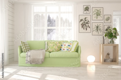 Phenomenal Stylish Room In White Color With Sofa And Winter Landscape Gmtry Best Dining Table And Chair Ideas Images Gmtryco