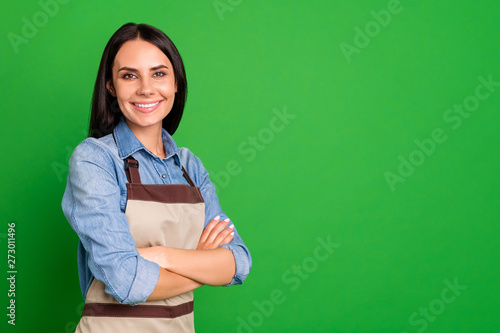 Valokuva  Close up side profile photo beautiful she her lady hands arms crossed assure cus