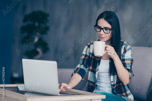 Close up side profile photo beautiful she her lady hands arms hot beverage noteb Canvas Print