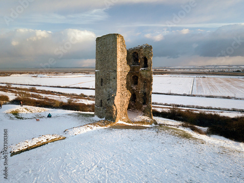 hadleigh castle in the snow drone photo фототапет