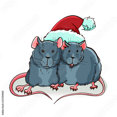 Garden Poster Creatures A pair of cute rats in a santa claus hat. Vector New Year greeting card. 2020 -year of the rat.