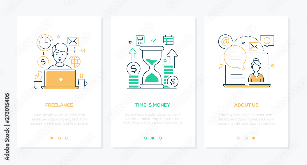 Fototapeta Business and finance - set of line design style vertical web banners