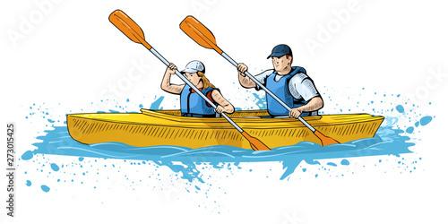 Valokuvatapetti Vector illustration of a couple rowing on canoe