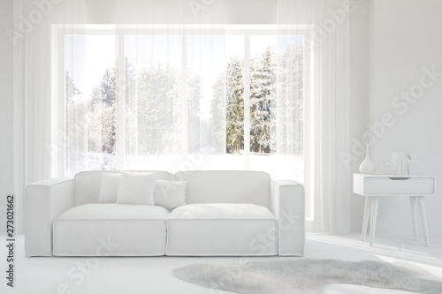 Pleasing Mock Up Of Stylish Room In White Color With Sofa And Winter Gmtry Best Dining Table And Chair Ideas Images Gmtryco