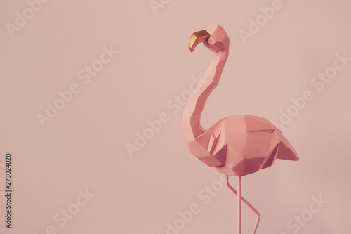 Flamingo geometric, Beautiful Romantic Concept with a Place for Text. Pink flamingo in studio.