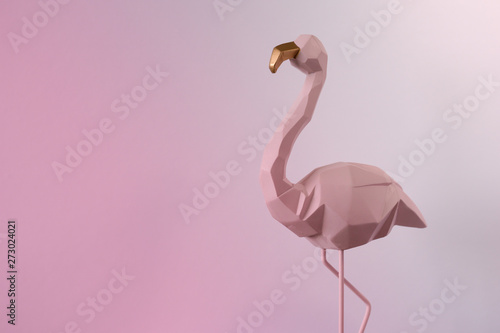 Canvas Prints Flamingo Flamingo geometric, Beautiful Romantic Concept with a Place for Text. Pink flamingo in studio.