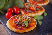 Homemade Mini Pizza On The Bla...