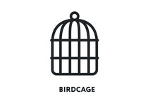 Bird Cage Vector Flat Line Ico...