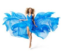 Woman Flying Blue Dress, Fashion Model Levitating In Silk Gown Waving Cloth On White