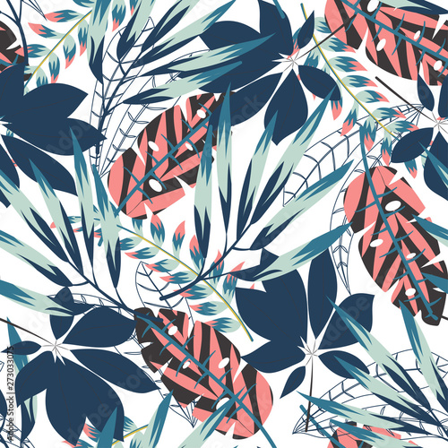 Photo sur Toile Empreintes Graphiques Seamless pattern with bright tropical leaves and plants on a delicate white background. Vector design. Jungle print. Floral background. Printing and textiles. Exotic tropics. Summer design.
