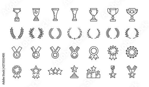 Awards line art icons set of winner Fototapet