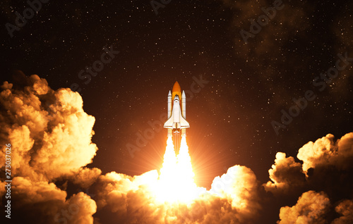 Fotomural Night Takeoff Of The American Space Shuttle