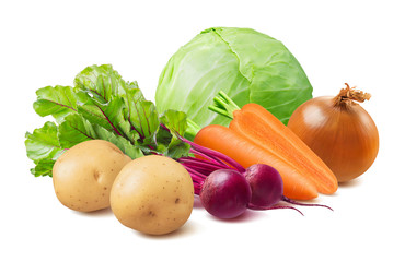 Summer borscht ingredients, cabbage, beetroot, carrot, potato and onion