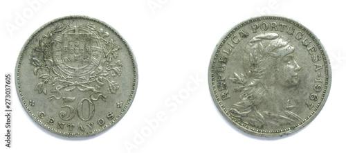 Fotografia  Portuguese 50 Centavos copper-nickel coin 1967 year