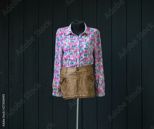 Fototapeta shirt with a colorful pattern and a skirt on a mannequin