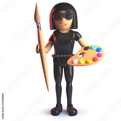 3d cartoon gothic girl wearing a latex catsuit and holding a paintbrush and pale Canvas-taulu