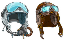 Cartoon Colorful Modern And Retro Aviator Pilot Protective Helmet With Open Glass Visor And Air Mask. Isolated On White Background. Vector Icon Set.