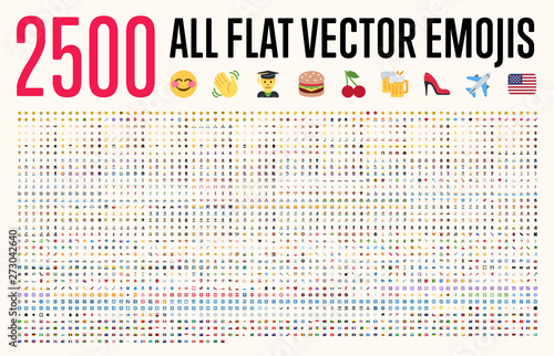 Fotografía  All type of emojis, stickers, emoticons flat vector illustration symbols