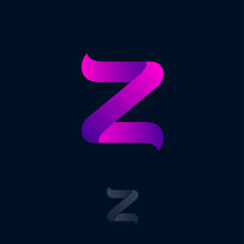 Z Logo Consist Of  Purple Ribbon. Z Origami Monogram. Network, Web Icon. Ui Design.