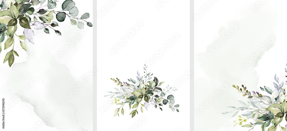 Fototapety, obrazy: Ready to use Card. Herbal Watercolor invitation design with leaves. flower and watercolor background. floral elements, botanic watercolor illustration. Template for wedding.   frame