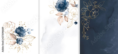 Ready to use Card. Watercolor invitation design with roses, leaves. flower and watercolor background. floral elements, botanic watercolor illustration. Template for wedding. frame