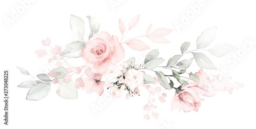 Fotomural  Set watercolor arrangements with roses