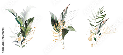 Pinturas sobre lienzo  watercolor and gold leaves