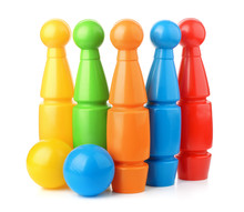 Toy Plastic Bowling Pins And B...