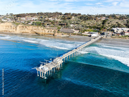 Aerial view of the scripps pier institute of oceanography, La Jolla, San Diego, California, USA Canvas-taulu