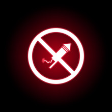 Forbidden Fireworks Icon In Red Neon Style. Can Be Used For Web, Logo, Mobile App, UI, UX