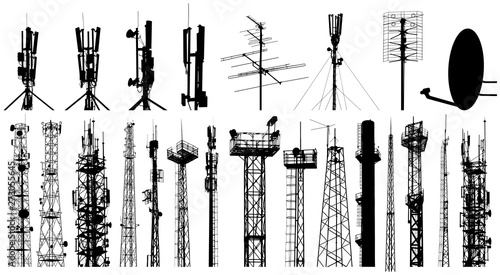 Fotografija Tower radio antenna silhouettes set. Isolated on white background