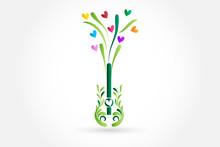 Logo Guitar Tree Shape And Love Hearts