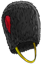 Cartoon Black British Army Bearskin. Tall Fur Cap With Red Feather. Isolated On White Background. Vector Icon.