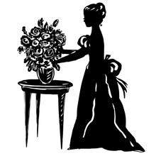Woman Silhouette In Antique Dress With Flowers In Vase On Table. Beautiful Female Character On Springtime, Summer Monochrome Background For Modern Design, Cover, Surface, Print, Poster, Interior Decor