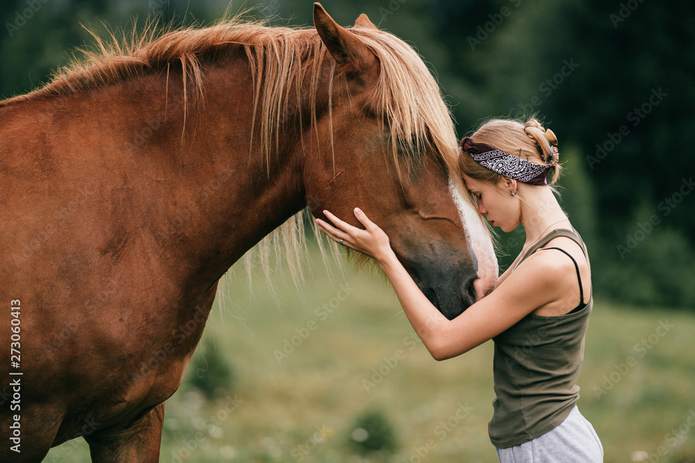 Fototapety, obrazy: Young beautiful girl hugging horse at nature. Horse lover.