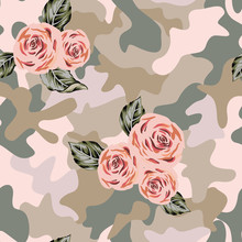 Camouflage Background With Pink Rose, Gray Leaves Bouquets. Vector Floral Illustration. Seamless Pattern. Romantic Garden Flowers. Summer Nature