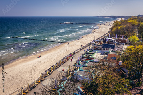 Cote Aerial view from lighthouse in Kolobrzeg city on the Baltic Sea coast in Poland
