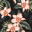 Tropical orchid flowers and palm leaves bouquets, black background. Vector seamless pattern. Jungle foliage illustration. Exotic plants. Summer beach floral design. Paradise nature