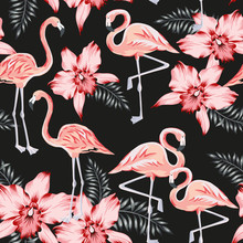 Tropical Pink Flamingo, Orchid Flowers, Palm Leaves, Black Background. Vector Seamless Pattern. Jungle Illustration. Exotic Plants, Birds. Summer Floral Design. Paradise Nature