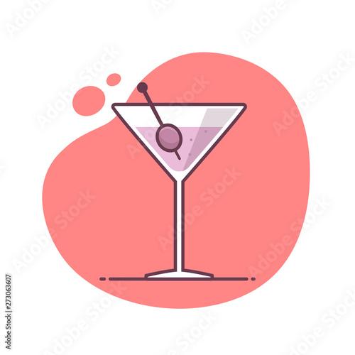 Fotografía  Martini cocktail vector icon illustration in monoline / line art style