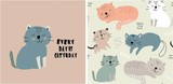 Fototapeta Fototapety na ścianę do pokoju dziecięcego - set of cute cat print and seamless pattern with cats. vector