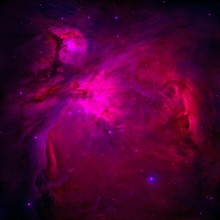 The Orion Nebula (Messier 42) In Neon Pink. Stars Of A Planet And Galaxy In Outer Space In A Neon Pink Color. Space Background And Texture.  Retouched Image. Elements Of This Image Furnished By NASA.